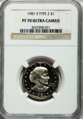 Proof Susan B. Anthony Dollars: , 1981-S SBA$ Type Two PR70 Ultra Cameo NGC. NGC Census: (26). PCGSPopulation (107). Numismedi...