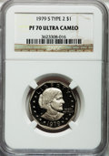 Proof Susan B. Anthony Dollars: , 1979-S SBA$ Type Two PR70 Ultra Cameo NGC. NGC Census: (79). PCGSPopulation (162). Numismedi...