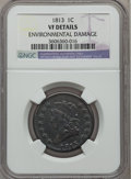 Large Cents: , 1813 1C -- Environmental Damage -- NGC Details. VF. NGC Census:(8/97). PCGS Population (16/126). Mintage: 418,000. Numisme...