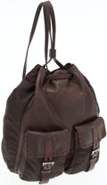 Luxury Accessories:Bags, Prada Brown Leather and Nylon Backpack Bag. ...