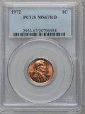 Lincoln Cents: , 1972 1C MS67 Red PCGS. PCGS Population (21/0). NGC Census: (16/0).Mintage: 2,933,224,960. Numismedia Wsl. Price for proble...