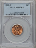 Lincoln Cents: , 1980-D 1C MS67 Red PCGS. PCGS Population (30/0). Numismedia Wsl.Price for problem free NGC/PCGS coin i...