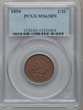 Half Cents: , 1854 1/2 C MS63 Brown PCGS. PCGS Population (115/87). NGC Census:(125/173). Mintage: 55,358. Numismedia Wsl. Price for pro...