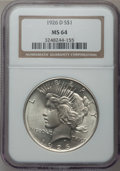 Peace Dollars: , 1926-D $1 MS64 NGC. NGC Census: (992/592). PCGS Population(1538/841). Mintage: 2,348,700. Numismedia Wsl. Price for proble...