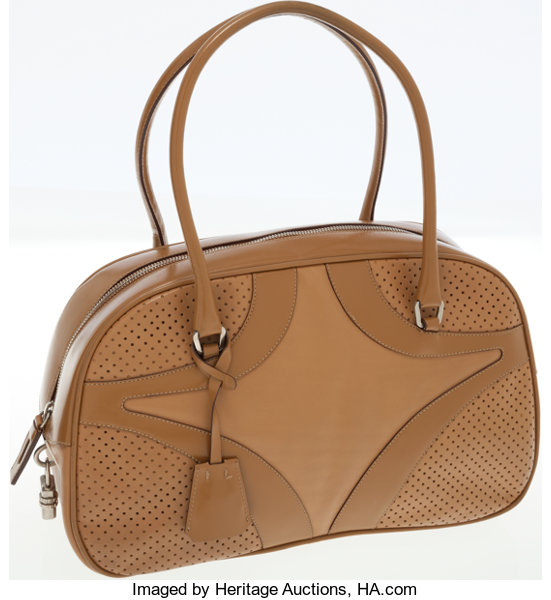 400f424d3c7c Luxury Accessories:Bags, Prada Brown Leather Bowling Bag with Keychain  Clochette.