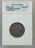 Half Cents, 1808 1/2 C -- Corroded, Rotated Dies -- ANACS. VF30 Details. C-3.NGC Census: (1/55). PCGS Population (10/80). Mintage: 400...