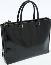 Anya Hindmarch Black Patent Leather Pimlico Top Handle Bag
