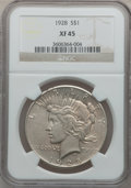 Peace Dollars: , 1928 $1 XF45 NGC. NGC Census: (126/5646). PCGS Population(155/7662). Mintage: 360,649. Numismedia Wsl. Price for problemf...