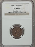 Indian Cents: , 1909-S 1C VF35 NGC. NGC Census: (113/832). PCGS Population(297/1107). Mintage: 309,000. Numismedia Wsl. Price for problem ...