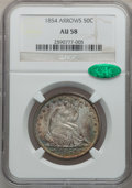 Seated Half Dollars: , 1854 50C Arrows AU58 NGC. CAC. NGC Census: (93/130). PCGSPopulation (41/103). Mintage: 2,982,000. Numismedia Wsl. Pricefo...