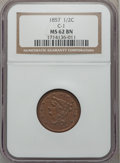 Half Cents: , 1857 1/2 C MS62 Brown NGC. C-1. NGC Census: (70/197). PCGSPopulation (56/120). Mintage: 35,180. Numismedia Wsl. Price for...