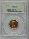Proof Lincoln Cents: , 1937 1C PR65 Red PCGS. PCGS Population (398/178). NGC Census:(163/97). Mintage: 9,320. Numismedia Wsl. Price for problem f...
