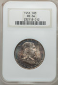 Franklin Half Dollars: , 1953 50C MS66 NGC. NGC Census: (43/1). PCGS Population (63/0).Mintage: 2,600,000. Numismedia Wsl. Price for problem free N...