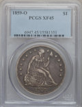 Seated Dollars: , 1859-O $1 XF45 PCGS. PCGS Population (70/594). NGC Census:(24/436). Mintage: 360,000. Numismedia Wsl. Price for problem fr...