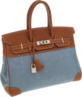 Luxury Accessories:Bags, Hermes 35cm Gold Togo Leather & Denim Birkin Bag with PalladiumHardware. ...