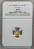 California Fractional Gold: , 1853 50C Liberty Round 50 Cents, BG-430, R.3, MS64 NGC. NGC Census:(4/1). PCGS Population (18/7). ...