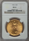 Saint-Gaudens Double Eagles: , 1926 $20 MS61 NGC. NGC Census: (521/22278). PCGS Population(586/20970). Mintage: 816,750. Numismedia Wsl. Price for proble...