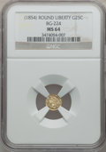 California Fractional Gold: , Undated 25C Liberty Round 25 Cents, BG-224, R.3, MS64 NGC. NGCCensus: (10/0). PCGS Population (26/1). ...