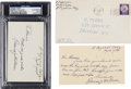 """Autographs:Others, 1957 Bobby """"Roderick"""" Wallace Signed Government Postcard &Index Card...."""