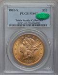 Liberty Double Eagles: , 1881-S $20 MS61 PCGS. CAC. PCGS Population (183/140). NGC Census:(197/68). Mintage: 727,000. Numismedia Wsl. Price for pro...