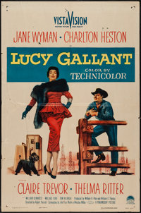"""Lucy Gallant (Paramount, 1955). One Sheet (27"""" X 41"""") and Lobby Cards (3) (11"""" X 14""""). Drama. ... (T..."""