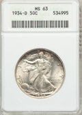 Walking Liberty Half Dollars: , 1934-D 50C MS63 ANACS. NGC Census: (218/800). PCGS Population(349/1440). Mintage: 2,361,400. Numismedia Wsl. Price for pro...