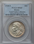 Commemorative Silver: , 1938-S 50C Boone MS65 PCGS. PCGS Population (208/164). NGC Census:(158/139). Mintage: 2,100. Numismedia Wsl. Price for pro...