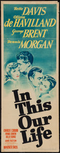 "Movie Posters:Drama, In This Our Life (Warner Brothers, 1942). Insert (14"" X 36""). Drama.. ..."