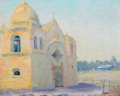 American, WILLIAM POSEY SILVA (American, 1859-1948). Carmel Mission,1915. Oil on artists' board. 15-1/4 x 18-3/4 inches (38.7 x 4...