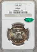 Franklin Half Dollars: , 1962 50C MS64 NGC. CAC. NGC Census: (1253/877). PCGS Population(3306/599). Mintage: 9,700,000. Numismedia Wsl. Price for p...