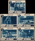 """Movie Posters:Serial, Sea Raiders (Universal, 1941). Lobby Cards (5) (11"""" X 14"""") Chapter 5 -- """"Flames of Fury."""" Serial.. ... (Total: 5 Items)"""