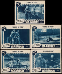 """Sea Raiders (Universal, 1941). Lobby Cards (5) (11"""" X 14"""") Chapter 5 -- """"Flames of Fury."""" Serial..."""