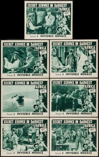 """Secret Service in Darkest Africa (Republic, 1943). Lobby Cards (7) (11"""" X 14"""") Chapter 9 -- """"Invisible Me..."""