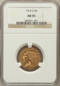 Indian Half Eagles: , 1916-S $5 AU55 NGC. NGC Census: (194/1555). PCGS Population(171/1006). Mintage: 240,000. Numismedia Wsl. Price for problem...