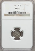 Three Cent Silver: , 1851 3CS XF45 NGC. NGC Census: (4/1092). PCGS Population (7/1253).Mintage: 5,447,400. Numismedia Wsl. Price for problem fr...