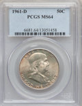 Franklin Half Dollars: , 1961-D 50C MS64 PCGS. PCGS Population (2757/491). NGC Census:(1249/781). Mintage: 20,276,442. Numismedia Wsl. Price for pr...