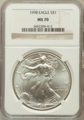 Modern Bullion Coins, 1998 $1 One Ounce Silver Eagle MS70 NGC. NGC Census: (266). PCGSPopulation (17). Numismedia Wsl. Price for problem free N...