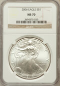 Modern Bullion Coins, 2006 $1 One Ounce Silver Eagle MS70 NGC. NGC Census: (3848). PCGSPopulation (375). Numismedia Wsl. Price for problem free...