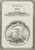 Modern Bullion Coins, 1987 $1 One Ounce Silver Eagle MS70 NGC. NGC Census: (302). PCGSPopulation (10). Mintage: 11,442,335. Numismedia Wsl. Pric...
