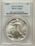 Modern Bullion Coins, 1989 $1 One Ounce Silver Eagle MS69 PCGS. PCGS Population (4771/0).NGC Census: (92059/346). Mintage: 5,203,327. Numismedia...
