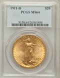 Saint-Gaudens Double Eagles: , 1911-D $20 MS64 PCGS. PCGS Population (3426/2290). NGC Census:(3474/2413). Mintage: 846,500. Numismedia Wsl. Price for pro...
