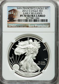 Modern Bullion Coins, 2012-S $1 One Ounce Silver Eagle, 75th Anniversary Set, SanFrancisco Early Releases PR70 Ultra Cameo NGC. NGC Census: (0)....