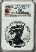 Modern Bullion Coins, 2012-S $1 Silver Eagle, Reverse Proof, Early Releases PR70 NGC. Ex:San Francisco Eagle Set. NGC Census: (0). PCGS Populati...
