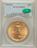 Saint-Gaudens Double Eagles: , 1914-D $20 MS64 PCGS. CAC. PCGS Population (2252/1035). NGC Census:(1902/587). Mintage: 453,000. Numismedia Wsl. Price for...