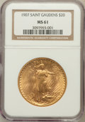 Saint-Gaudens Double Eagles: , 1907 $20 Arabic Numerals MS61 NGC. NGC Census: (971/8706). PCGSPopulation (505/12858). Mintage: 361,667. Numismedia Wsl. P...