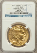Modern Bullion Coins, 2013 G$50 One-Ounce Gold Buffalo, First Releases MS70 NGC. .9999Fine. NGC Census: (0). PCGS Population (653)....