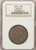 Bust Half Dollars: , 1820 50C Curl Base 2, Small Date AU55 NGC. NGC Census: (38/1440).PCGS Population (31/44). Mintage: 751,122. Numismedia Wsl...