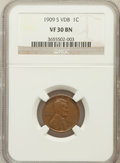 Lincoln Cents: , 1909-S VDB 1C VF30 NGC. NGC Census: (287/2912). PCGS Population(659/5085). Mintage: 484,000. Numismedia Wsl. Price for pro...
