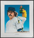 Baseball Collectibles:Others, Jim Catfish Hunter Signed Lithograph....