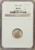 Barber Dimes: , 1912 10C MS65 NGC. NGC Census: (152/40). PCGS Population (140/47).Mintage: 19,350,000. Numismedia Wsl. Price for problem f...